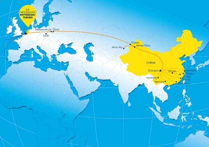 成都-蒂尔堡-鹿特丹特快专线可以在15天内经过哈萨克斯坦和莫斯科实现门到门服务。成都可以通过铁路连接到其他中国城市,如上海、宁波、武汉、义乌、厦门、深圳、南宁和昆明,以及越南和韩国。GVT物流集团的总经理Roland Verbraak说:来自中国的货物通常由远洋运输,再从鹿特丹港通过近洋运送到英国、斯堪的纳维亚半岛和葡萄牙。 快速的陆地连接 这是一个很大的发展,鹿特丹港务局CEO Allard Castelein补充道。鹿特丹已经是中国货物通过海运到达欧洲的最重要目的地。凭借这个铁路班列,我